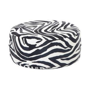 Zebra Round Leatherette Ottoman Footstool